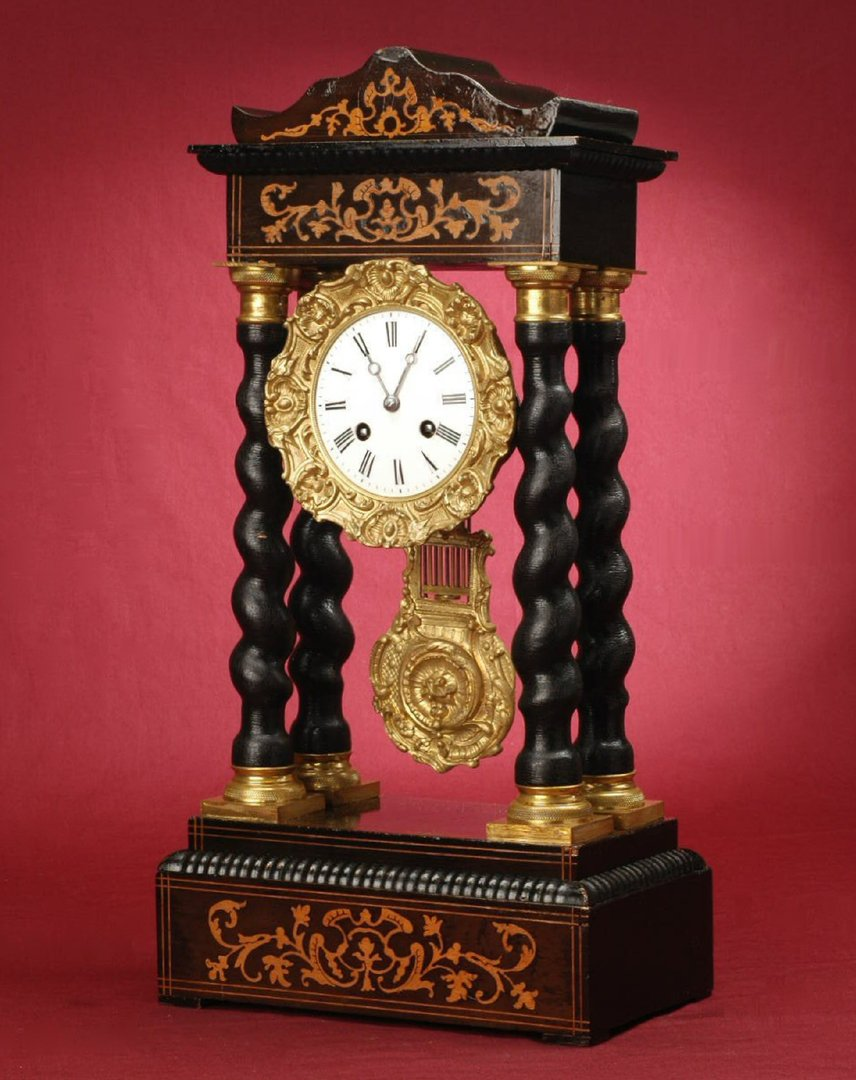 Pendule holz Antikeamp; Schöne 1860 Kaminuhr Französische Napoleon Iii Vergoldet Ca Bronze TKF1Jcul35